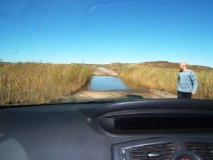 South African countryside river crossing road trip off road.