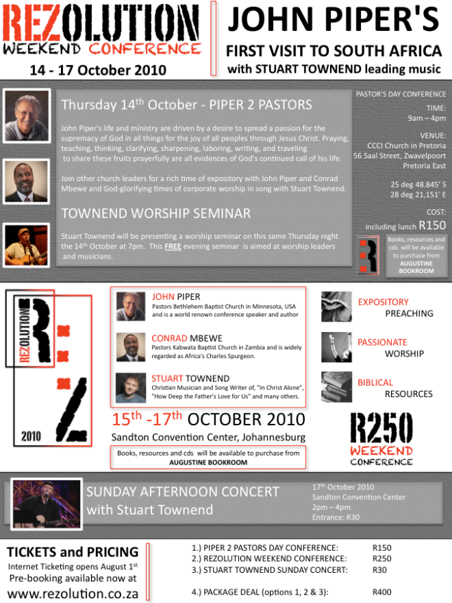 REZOLUTION Weekend Conference John Piper Pretoria South Africa Antioch Bible Church Grace Fellowship