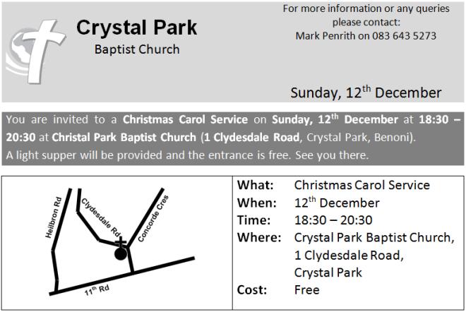 Christmas, Carol Service, Invite, Crystal Park Baptist Church, Benoni, Baptist