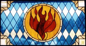 stained glass, God, Holy Spirit, Babbitt, Minnesota Evangel:ical Lutheran Church, Tammy, Kevin, Glimore, Romans 8:13, Sanctification, Wiesbe, Trinity, positional, progressive, perfect, doctrine, Acts 20:32, Romans 6:1 - 22, Galatians 5:16 - 25, Romans 8:13, Romans 5:5, 2 Corinthians 3:18, Galatians 5:22 - 23