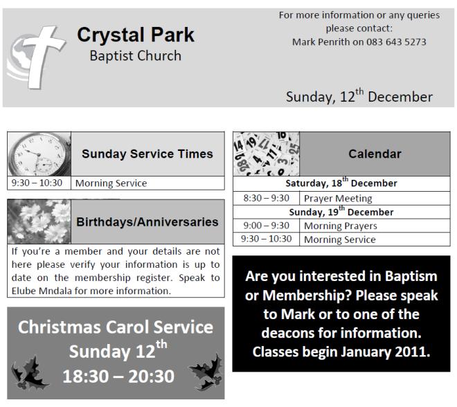 Crystal Park Baptist Church, Benoni, Baptist, Pewslip