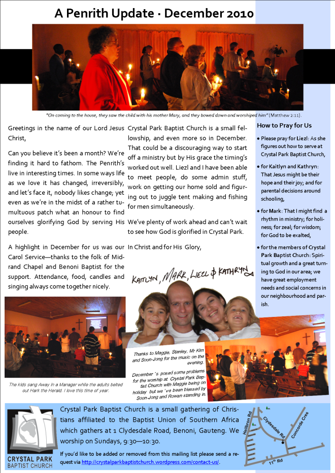 Mark, Liezl, Kaitlyn, Kathryn, Penrith, Crystal Park Baptist Church, Newsletter